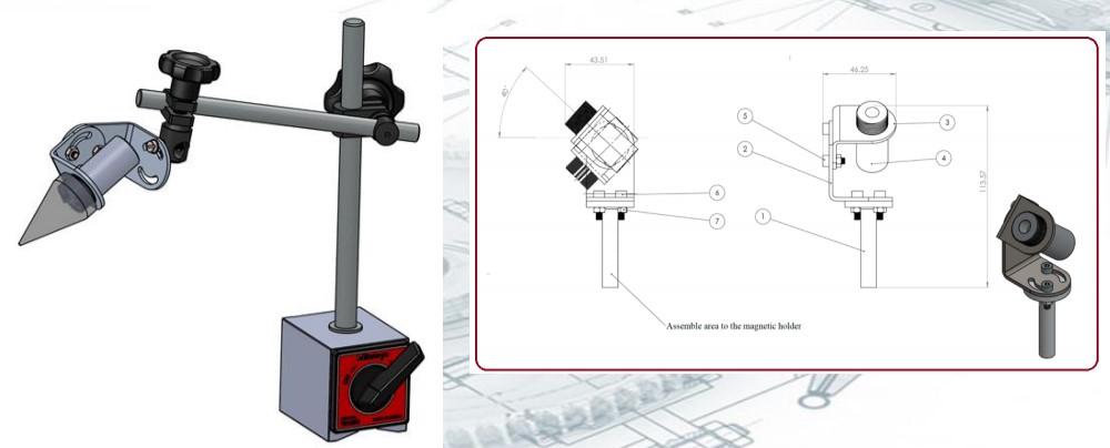 מימין מוצג סרטוט של המתקן ומשמאלו איור של המתקן